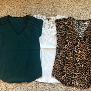 3 Express Blouses.   White/leopard/green